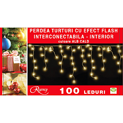Instalatie perdea aspect turturi 100 LED-uri, cu efect flash, interconectabila, 3 m, cablu alimentare 1.5 m, Alb cald