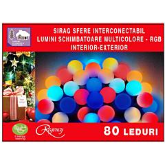 Instalatie sirag 80 LED-uri, tip sfere, jocuri de lumini schimbatoare-RGB, 8 m, Multicolor