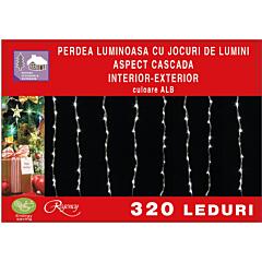 Instalatie perdea tip cascada de lumini cu 320 LED-uri, efect curgator, 2.5 m x 2.5 m, Alb
