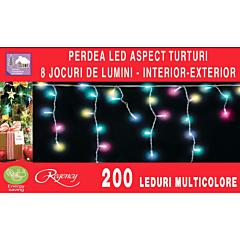 Instalatie perdea aspect turturi 200 LED-uri, 8 jocuri de lumini, 6.12 m, Multicolor