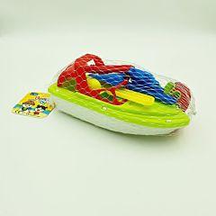 Set 7 jucarii pentru nisip Regency, cu barcuta si lopatele, Multicolor