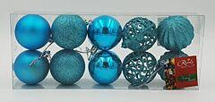 Set tub 10 globuri asortate, 60 mm, Albastru