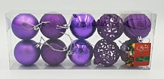 Set tub 10 globuri asortate, 60 mm, Violet
