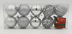 Set tub 10 globuri asortate, 60 mm, Argintiu