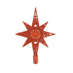 Varf pentru brad dantelat, cu decor gliter, plastic, 27 cm, Rosu