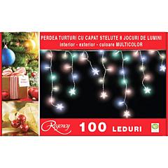 Instalatie perdea turturi 100 LED-uri, capat stelute, 8 jocuri de lumini, 4 m, cablu alimentare 1.5 m, Multicolor