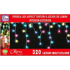Instalatie perdea aspect turturi 320 LED-uri, 8 jocuri de lumini, 13 m, Multicolor