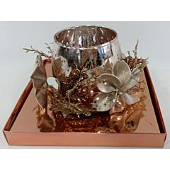 Suport lumanare decorat, sticla