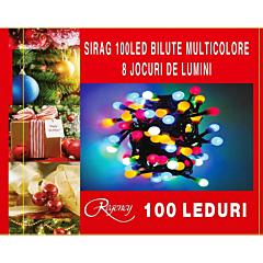 Instalatie sirag 100 LED-uri, tip bile, 8 jocuri de lumini, 10 m, cablu alimentare 1.5 m, Multicolor