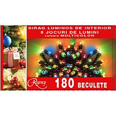 Instalatie sirag 180 beculete, 8 jocuri de lumini, 9 m, cablu de alimentare 1.5 m, Multicolor