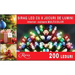Instalatie sirag 200 LED-uri, 8 jocuri de lumini, 10 m, cablu alimentare 1.5 m, Multicolor