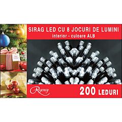 Instalatie sirag 200 LED-uri, 8 jocuri de lumini, 10 m, cablu alimentare 1.5 m, Alb