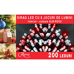 Instalatie sirag 200 LED-uri, 8 jocuri de lumini, 10 m, cablu alimentare 1.5 m, Alb/Rosu