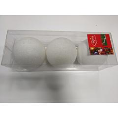 Set 3 globuri albe 8 cm