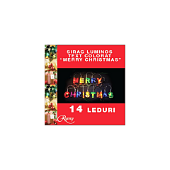Instalatie sirag colorat Merry Christmas 14 LED-uri, Multicolor