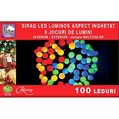 Instalatie sirag 100 LED-uri, cu aspect inghetat, 10 m, Multicolor