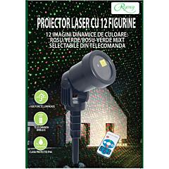 Proiector laser cu telecomanda wireless, 12 figurine, jocuri de lumini dinamice Rosu/Verde/Rosu-Verde mixt