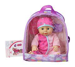 Rucsac cu bebelus Aimantine, plastic, 25 cm, Roz/Lila