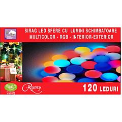 Instalatie sirag convexa 120 LED-uri, tip sfere, jocuri de lumini schimbatoare-RGB, 18 m, Multicolor