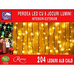 Instalatie perdea 204 LED-uri hexagonale, 8 jocuri de lumini, 2.5x1.2 m, Alb cald