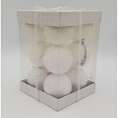 Set 12 globuri gliterate, dimensiune glob 70mm, Alb