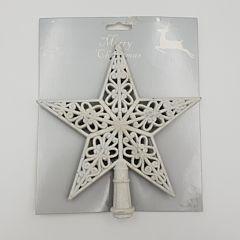 Varf de brad steluta perforata, gliterata, 20x19 cm, Alb