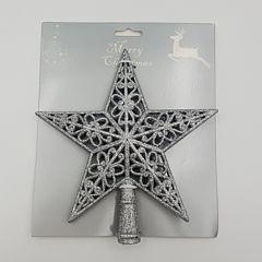 Varf brad steluta perforata, gliterata, 20x19 cm, Argintiu