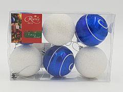 Set 6 globuri, 60 mm, 3 albe gliterate si 3 albastre pictate cu alb