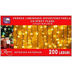 Instalatie perdea luminoasa 200 LED-uri, interconectabila, cu efect flash,  4 m x 1 m, Alb cald