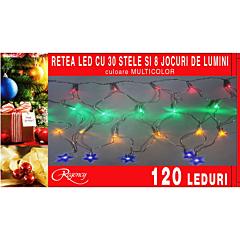 Instalatie retea 120 LED-uri, 30 de stelute, 8 jocuri de lumini, 3 x 0.35 m, Multicolor