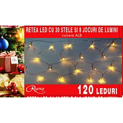 Instalatie retea 120 LED-uri, 30 de stelute, 8 jocuri de lumini, 3 x 0.35 m, Alb