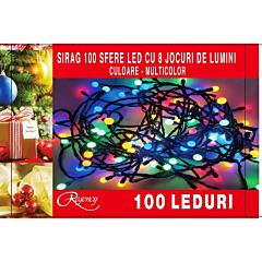 Instalatie sirag 100 LED-uri, tip bile, diametru 1.2 cm,  8 jocuri de lumini, 10 m, cablu alimentare 1.5 m, Multicolor