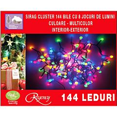Instalatie 144 LED-uri cluster, 8 jocuri de lumini, 2.9 m, Multicolor