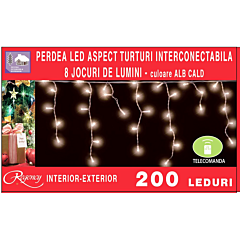 Instalatie perdea aspect turturi 200 LED-uri, cu telecomanda, 8 jocuri de lumina, Alb cald