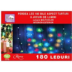 Instalatie perdea aspect turturi 180 LED-uri, cu bilute, 8 jocuri de lumini, 4.5 x 0.7 m, Multicolor