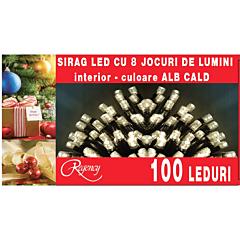 Instalatie sirag 100 LED-uri, 8 jocuri de lumini, 5 m, Alb cald