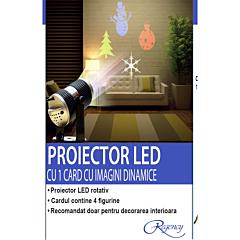 Proiector LED rotativ cu 1 card, 4 figurine dinamice si 6 carduri de schimb