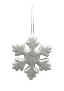 Ornament de brad in forma de fulg, sclipici, 15 cm, Alb