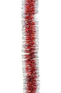 Ghirlanda model clasic, franjurata fin, diametru 5 cm, 2 m, Rosu/Argintiu