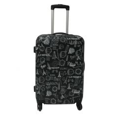 Troler Abs City 4 roti, 72 cm, gri, Carrefour