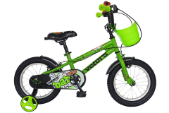"""Bicicleta baieti VELORS V1601A, roata 16"""", C-Brake, cosulet, roti ajutatoare, 4-6 ani, verde"""