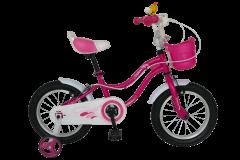 "Bicicleta fete VELORS V1602A, roata 16"", C-Brake, cosulet, roti ajutatoare, 4-6 ani, fucsia"