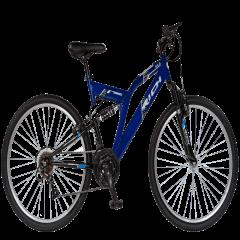 "Bicicleta munte, dubla suspensie, RICH R2649A, roata 24"", frana V-Brake, 18 viteze, albastru/negru"