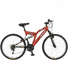 """Bicicleta munte, dubla suspensie, RICH R2449A, roata 24"""", frana V-Brake, 18 viteze, rosu/negru"""