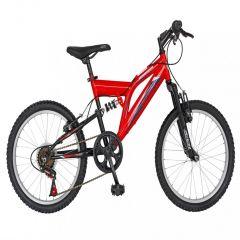 Bicicleta copii 20 inch RICH  R2049A, cadru otel, 6 viteze, tip frana V-Brake, sa confortabila, cric, culoare rosu/negru, varsta 7-10 ani