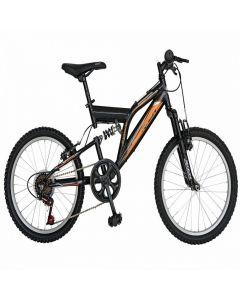 Bicicleta copii 20 inch RICH  R2049A, cadru otel, 6 viteze, tip frana V-Brake, sa confortabila, cric, culoare negru/portocaliu, varsta 7-10 ani