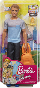 Papusa Barbie Travel Ken, plastic, Multicolor