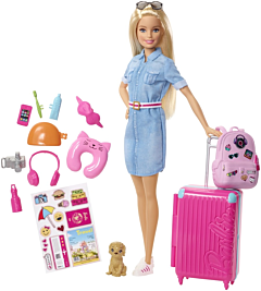 Papusa Barbie Travel, plastic, Multicolor