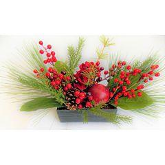 Ghiveci cu decor fructe si flori, forma dreptunghiulara, plastic, 40.6 cm, Multicolor
