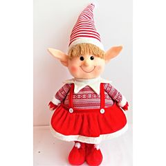 Figurina Fetita Elf cu rochita rosie, material textil, dimensiune 76cm, Multicolor